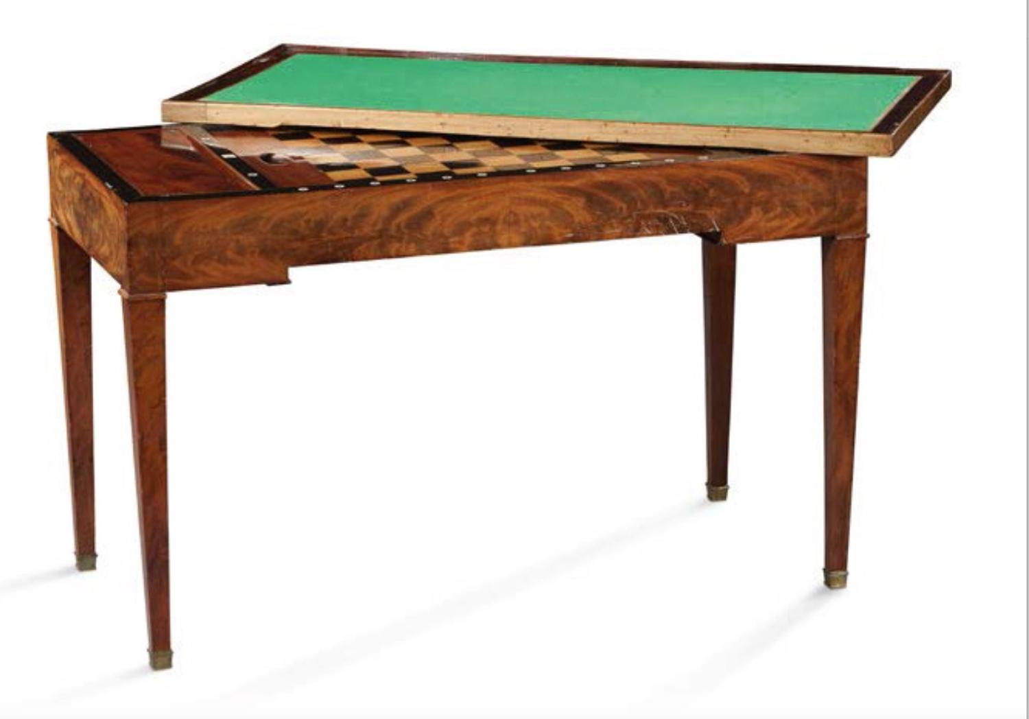 A LOUIS XVI PERIOD MAHOGANY TRIC/TRAC TABLE