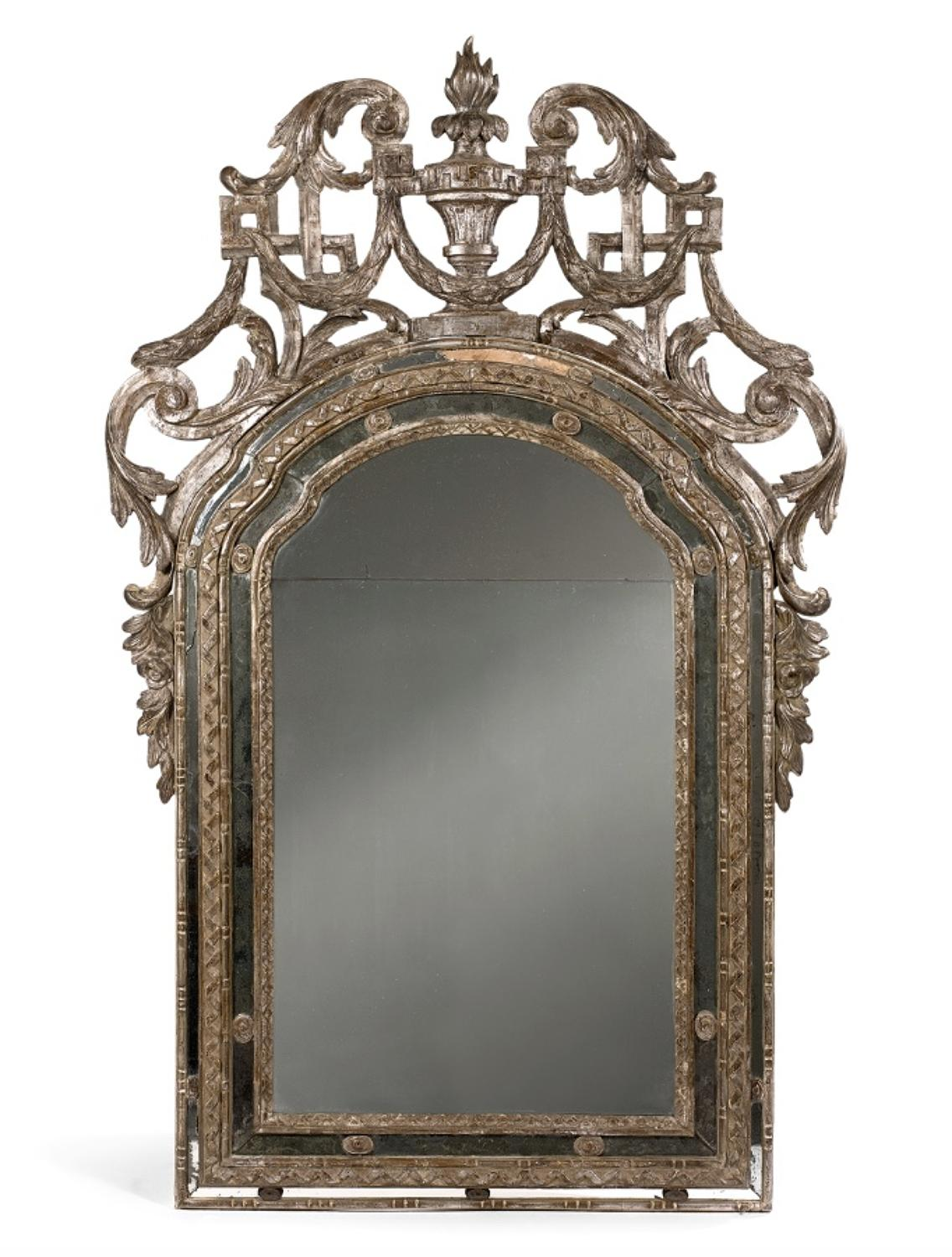 A 18TH CENTURY ITALIAN SILVER GILT BAROQUE MIRROR