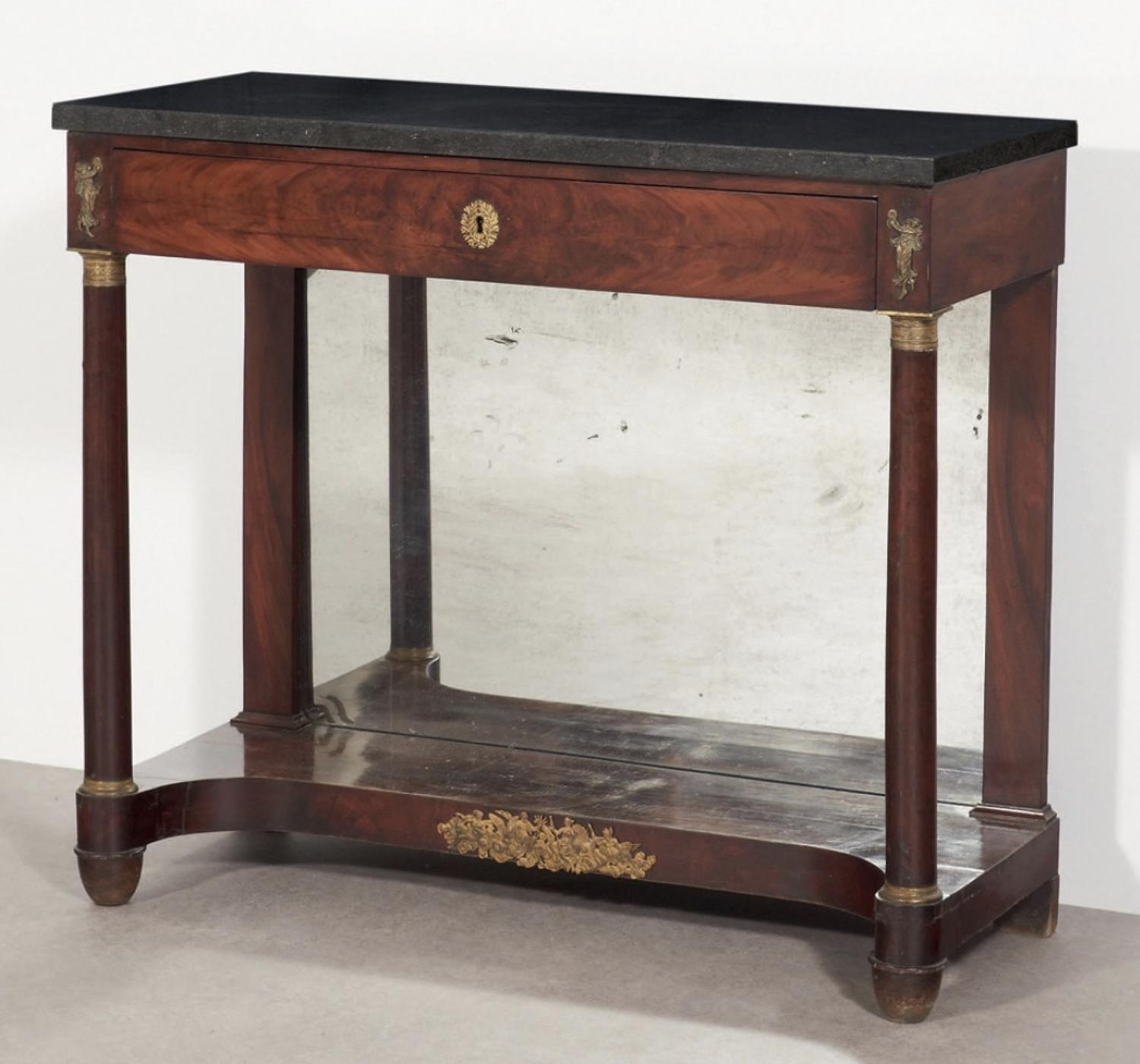 A RESTAURATION PERIOD MAHOGANY CONSOLE TABLE FRANCE C1825