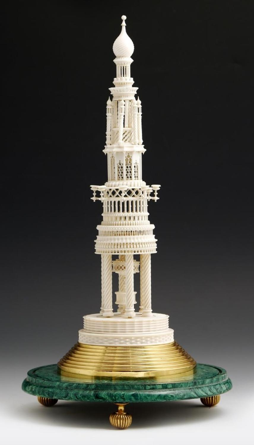 A finely carved 19th century ivory tower