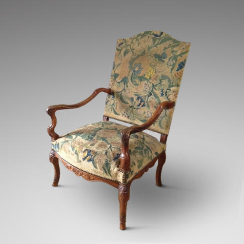 REGENCY PERIOD TAPESTRY COVERED ARMCHAIR