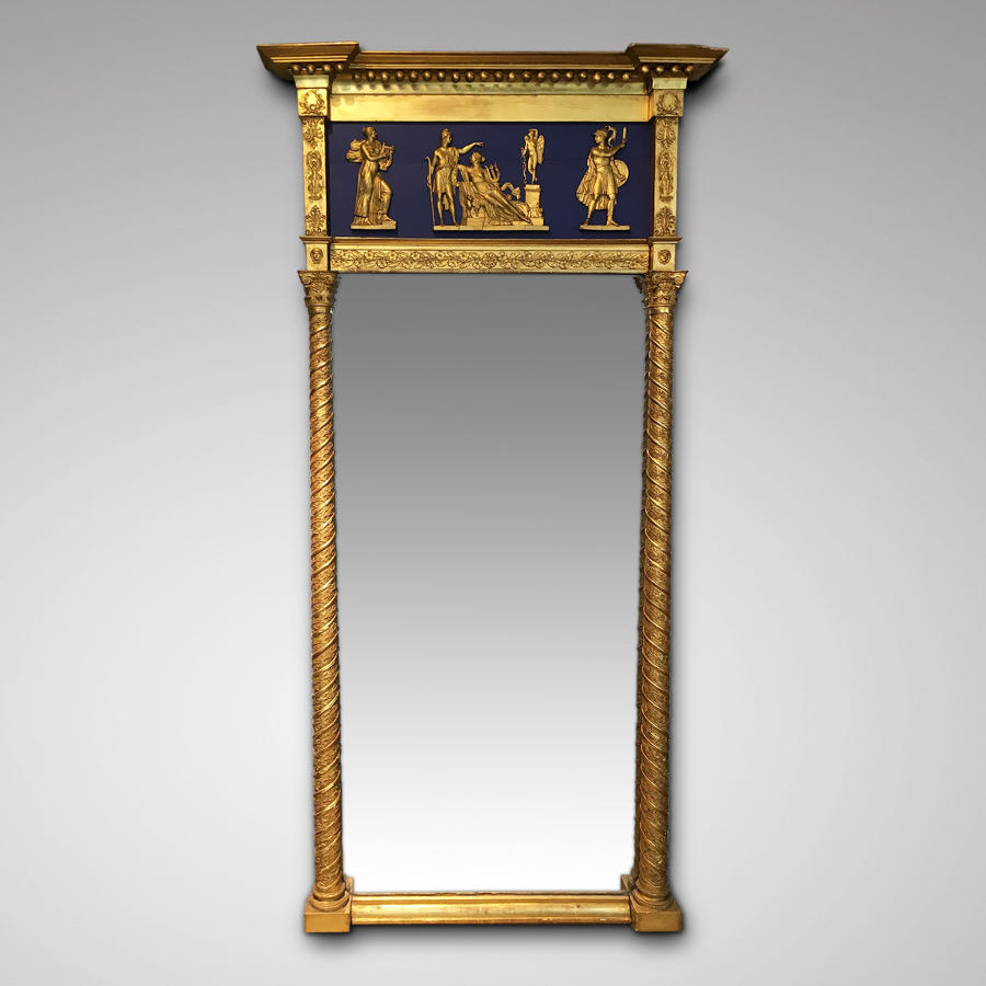 A LATE EMPIRE PERIOD GILT GESSO MIRROR