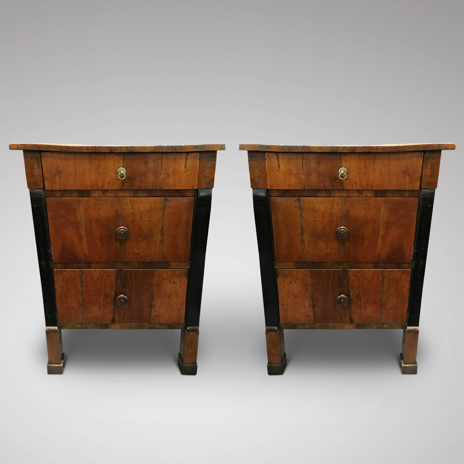 A PAIR OF FRUITWOOD COMMODINI ITALY C,1825