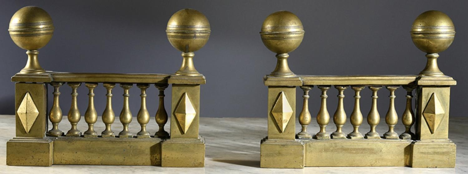 A PAIR OF EARLY C19TH BRASS CHENETS
