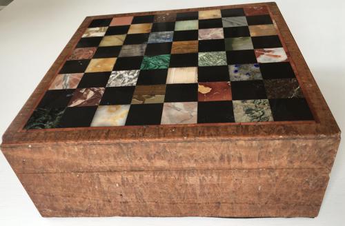 A RARE SPECIMEN MARBLE  & MARBLE BOX