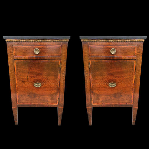 APAIR OF CROSSBANDED MAHOGANY COMMODINI ITALY C.1790