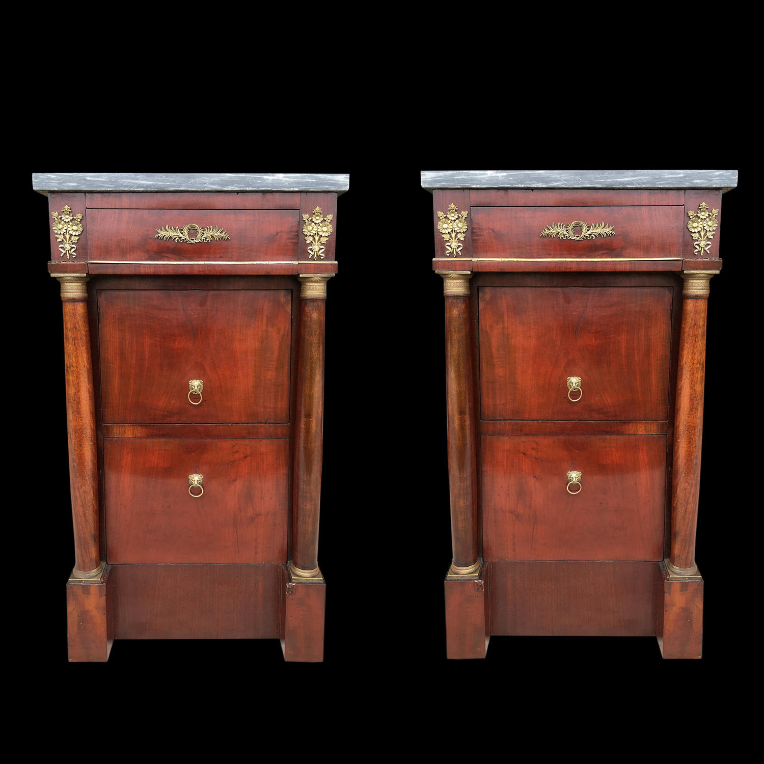 A PAIR OF ITALIAN EMPIRE PERIOD BEDSIDE CUPBOARDS