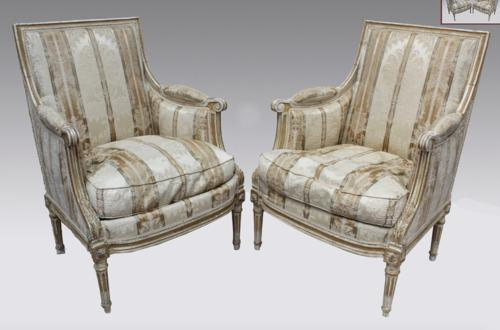 A PAIR OF BERGERE ARMCHAIRS LOUIS XVI STYLE