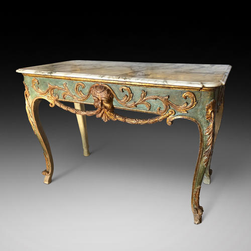 A MID 18TH CENTURY  ITALIAN DECORATED CONSOLE TABLE