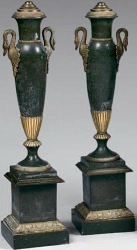 A PR OF EARLY 19TH CENTURY NEO CLASSICAL CARCEL LAMPS
