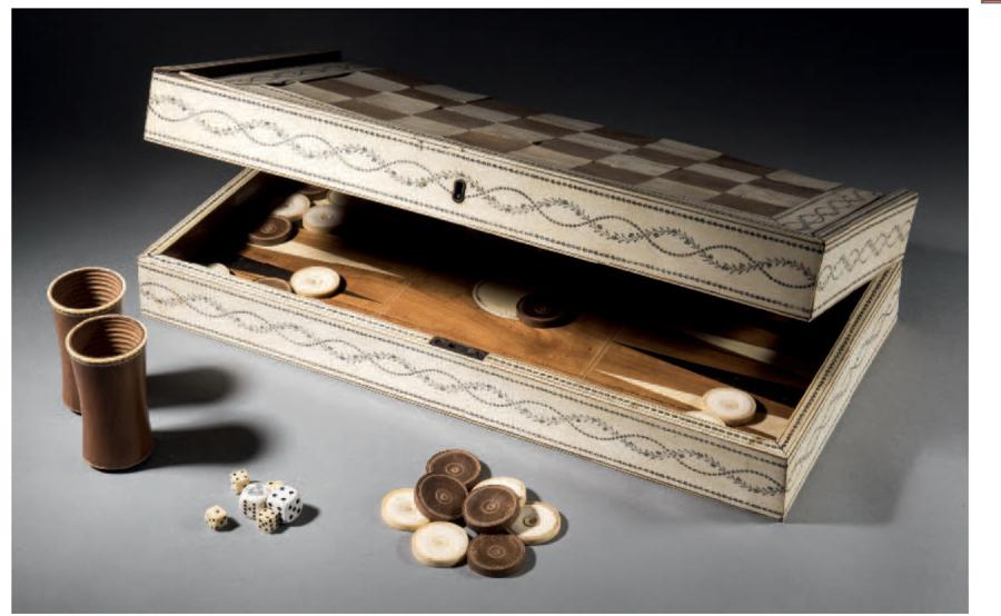 AN IVORY MOUNTED SANDALWOOD GAMES BOX