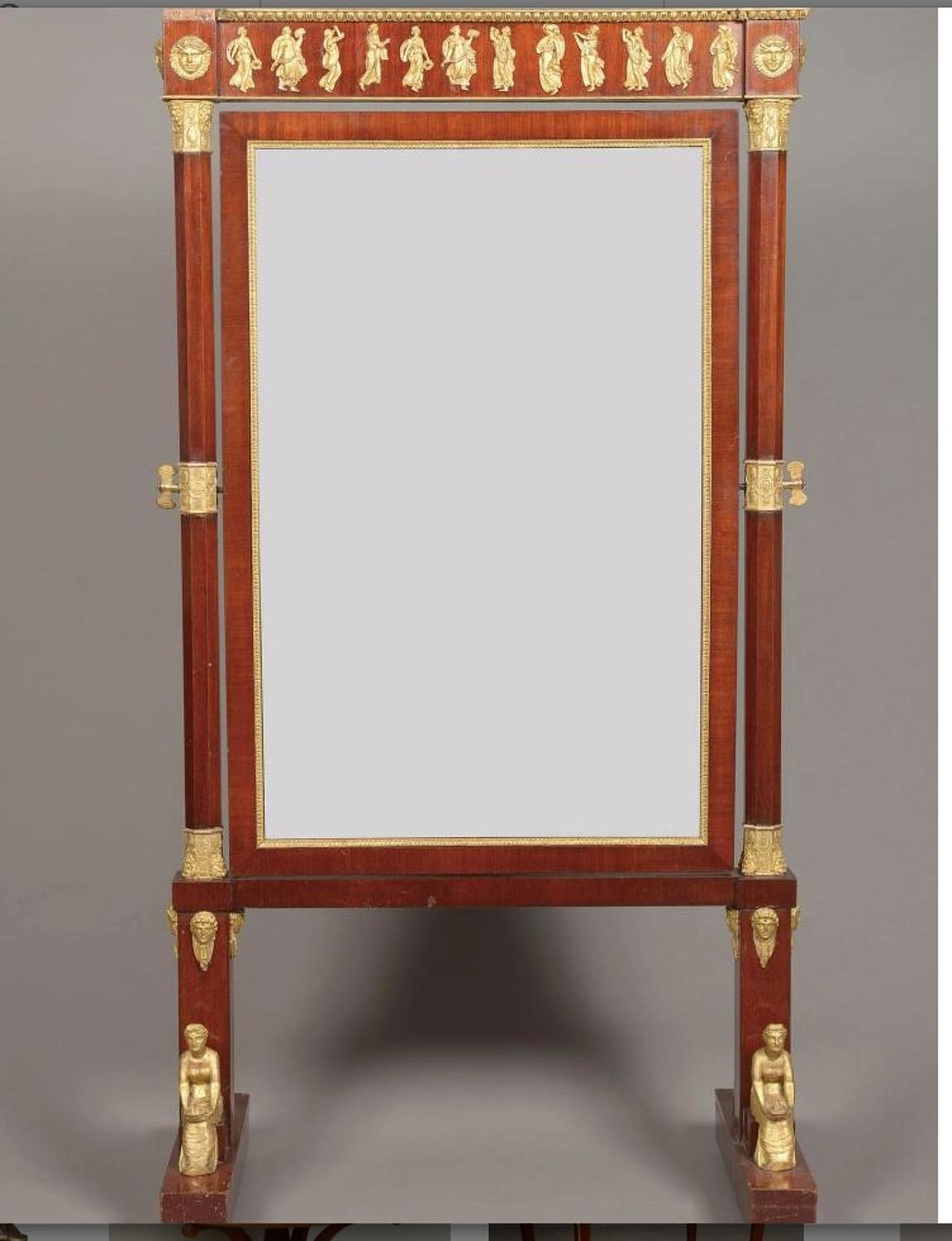 A FRENCH EMPIRE PERIOD CHEVAL MIRROR