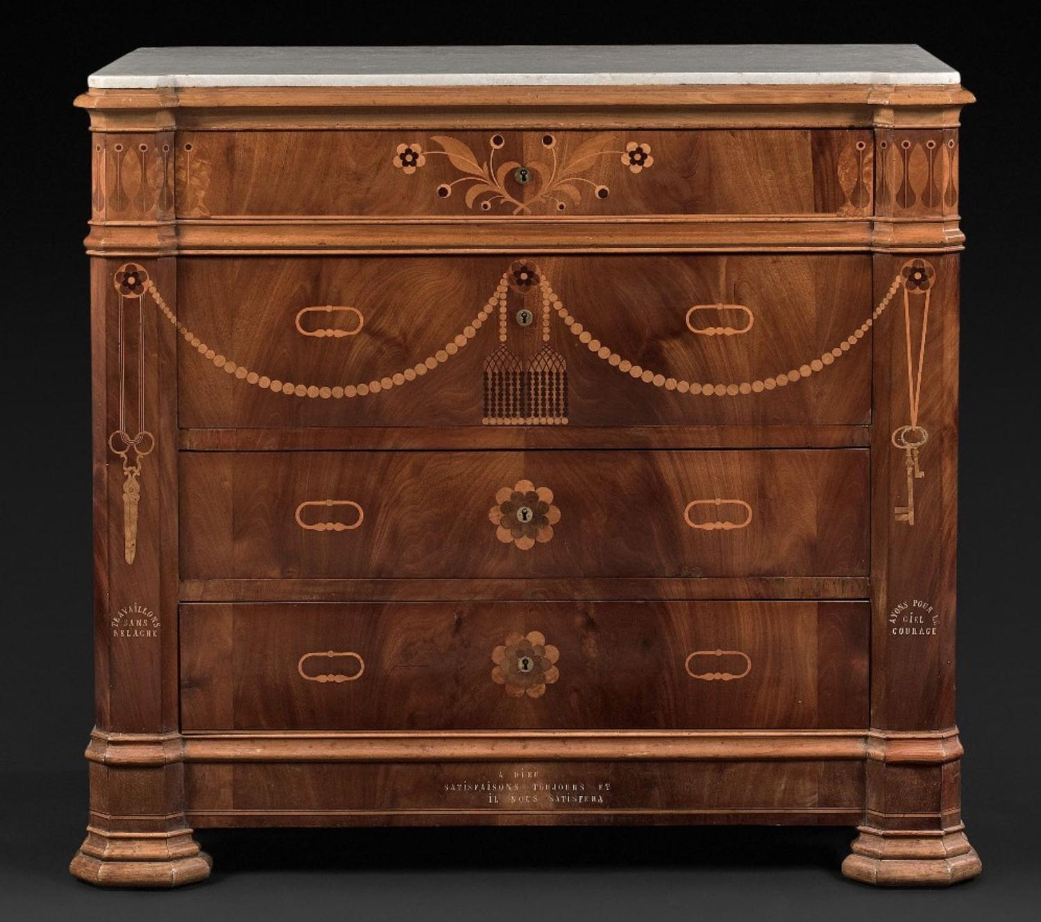 A RARE MARQUETRY COMMODE