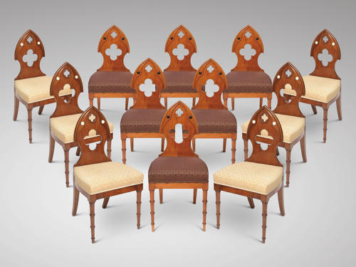 A SET OF 12 CHAIRS NEO GOTHIC C 1820