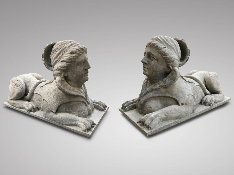 A PAIR OF STONE SPHINX