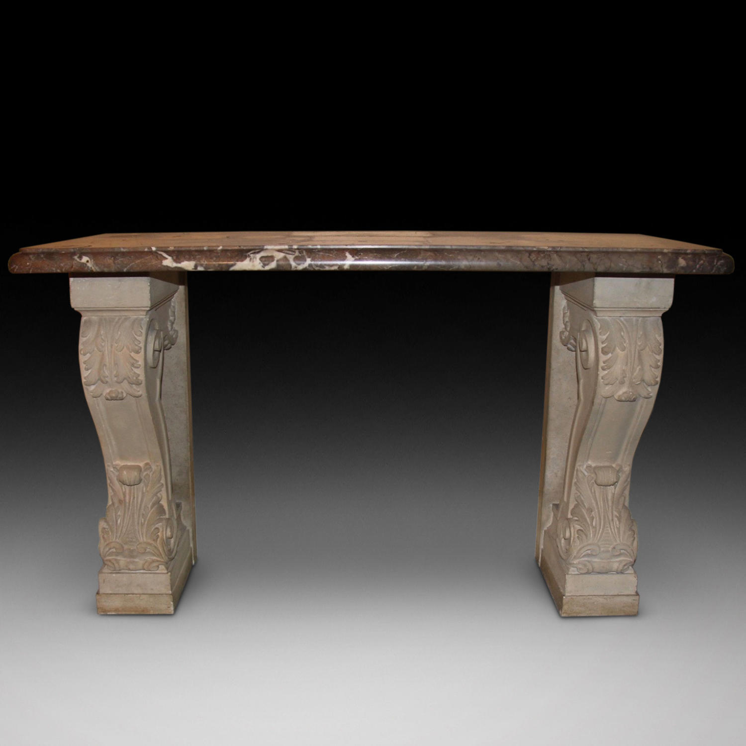 A MARBLE & STONE CONSOLE