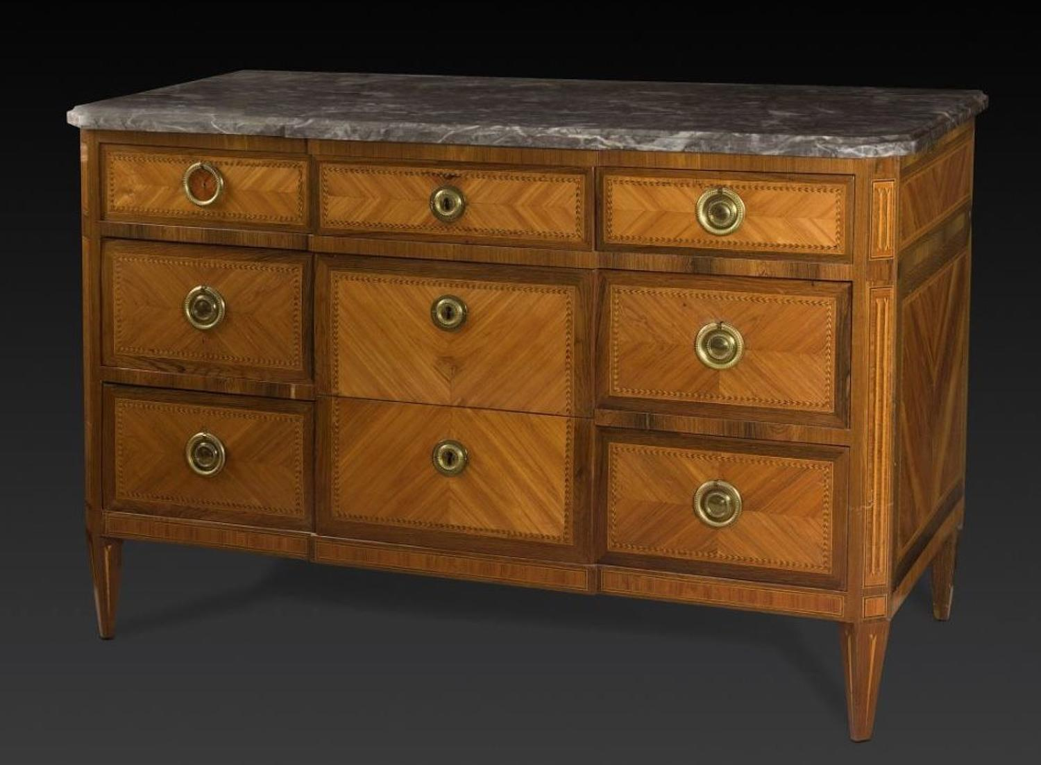 A LOUIS XVI PERIOD PARQUETRY COMMODE