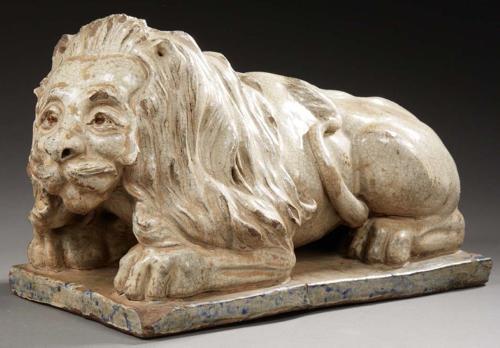 A LUNEVIELLE POTTERY LION