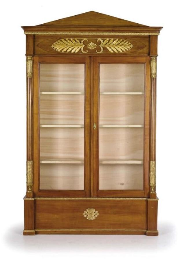 AN EARLY 19TH  NEO CLASSICAL CHERRYWOOD BOOKCASE