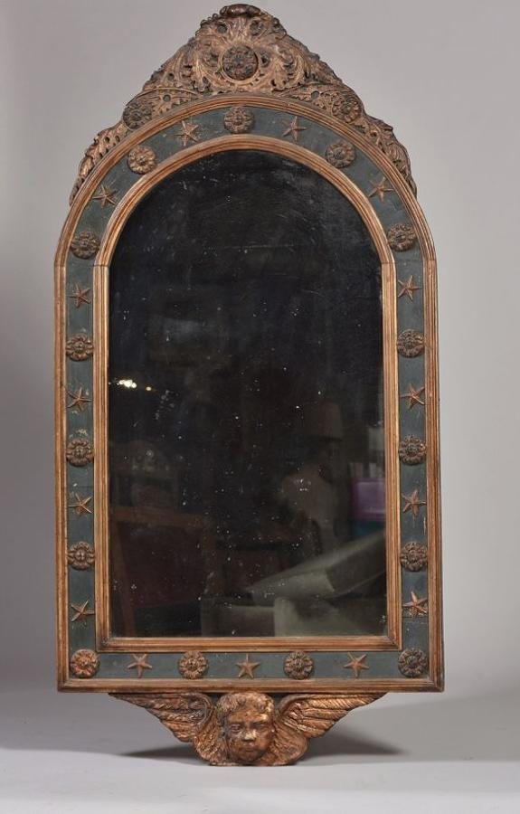 A FRENCH EMPIRE DECORATED MIRROR