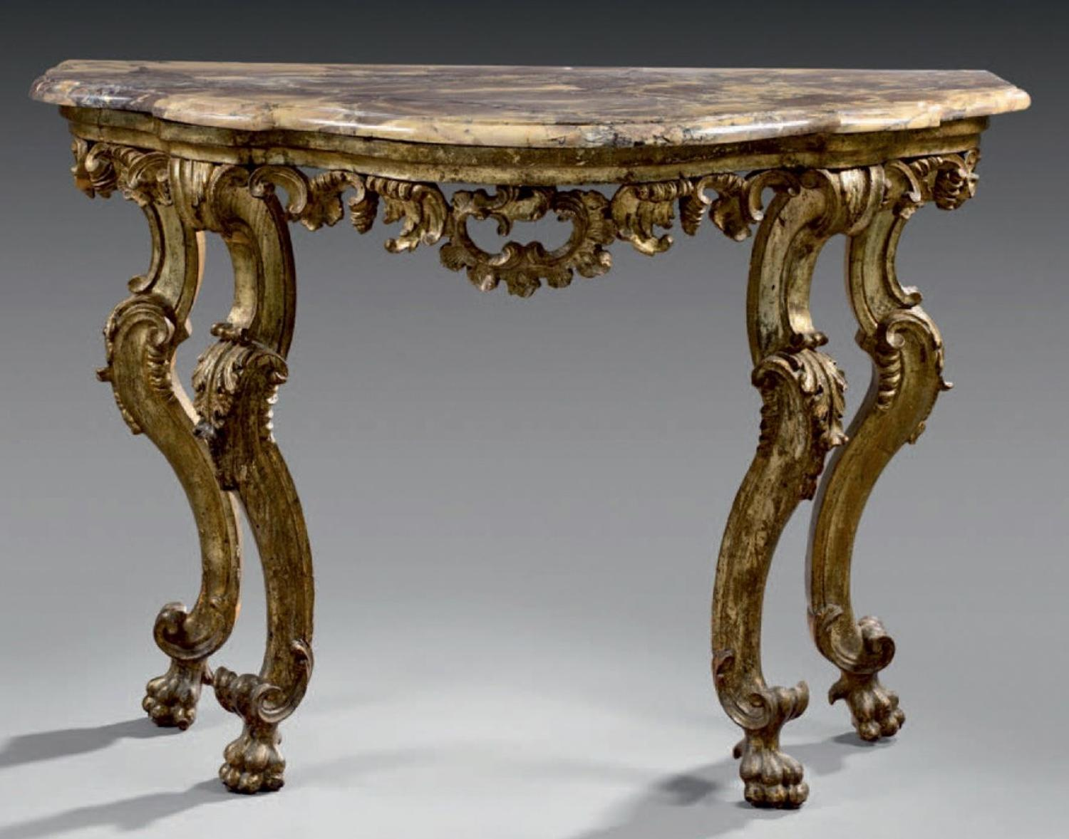 A CARVED GILTWOOD MID 18TH CENTURY CONSOLE