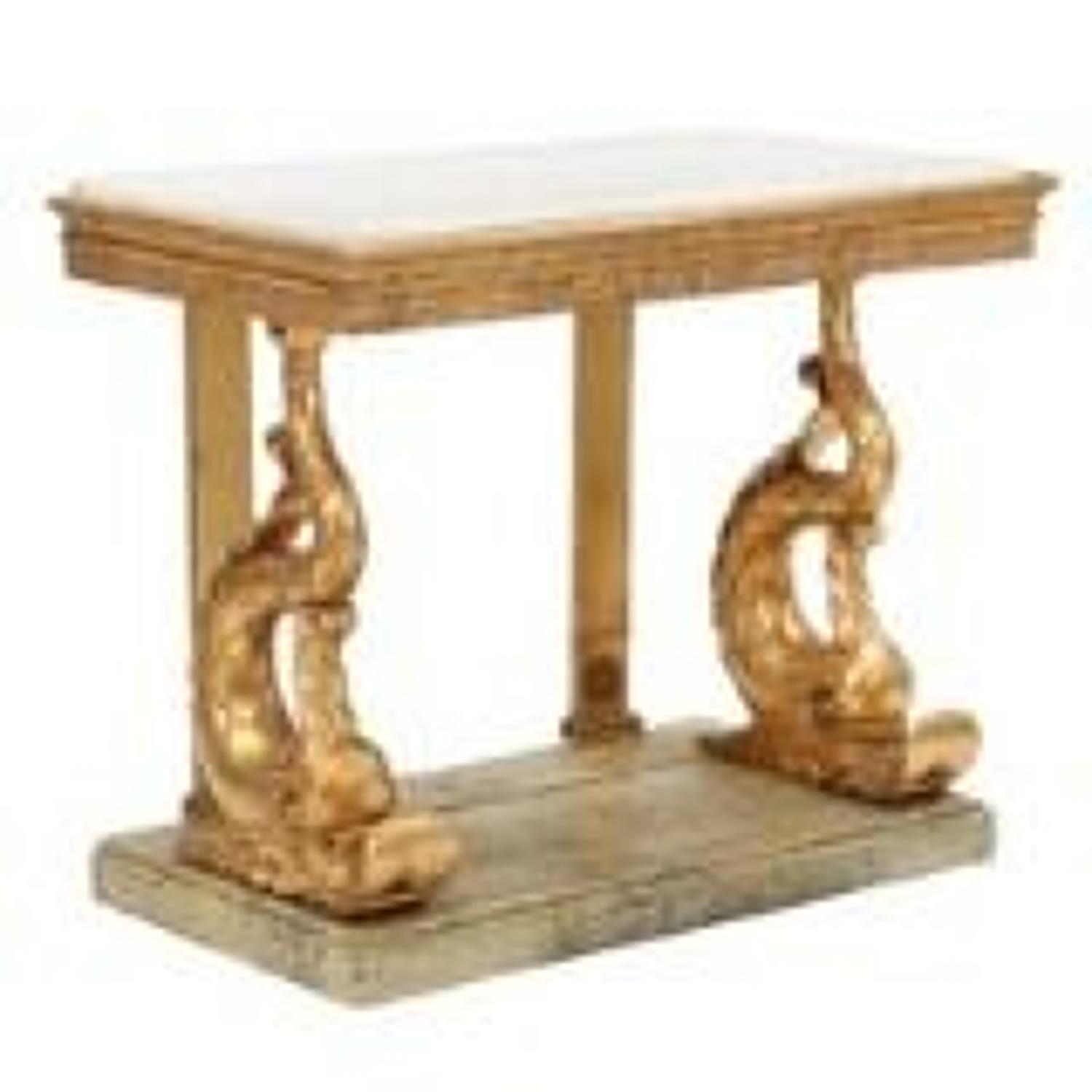 A SWEDISH CARVED GILTWOOD CONSOLE TABLE