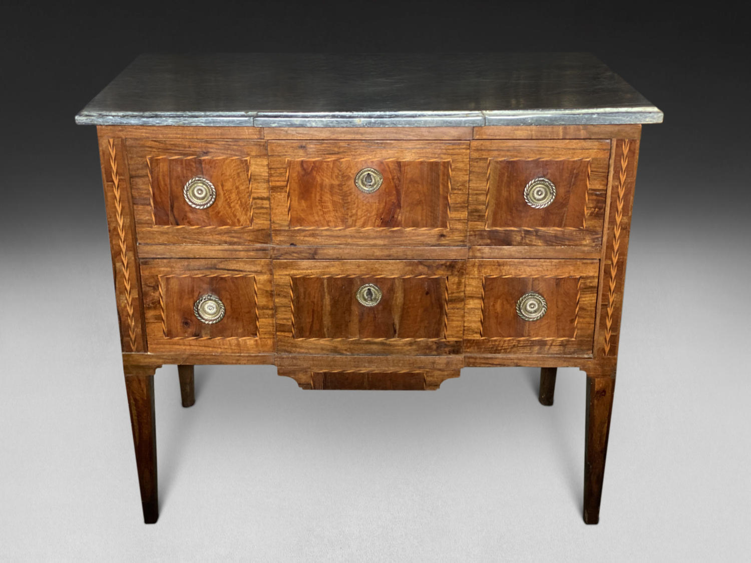 A PARQUETRY INLAID WALNUT COMMODE
