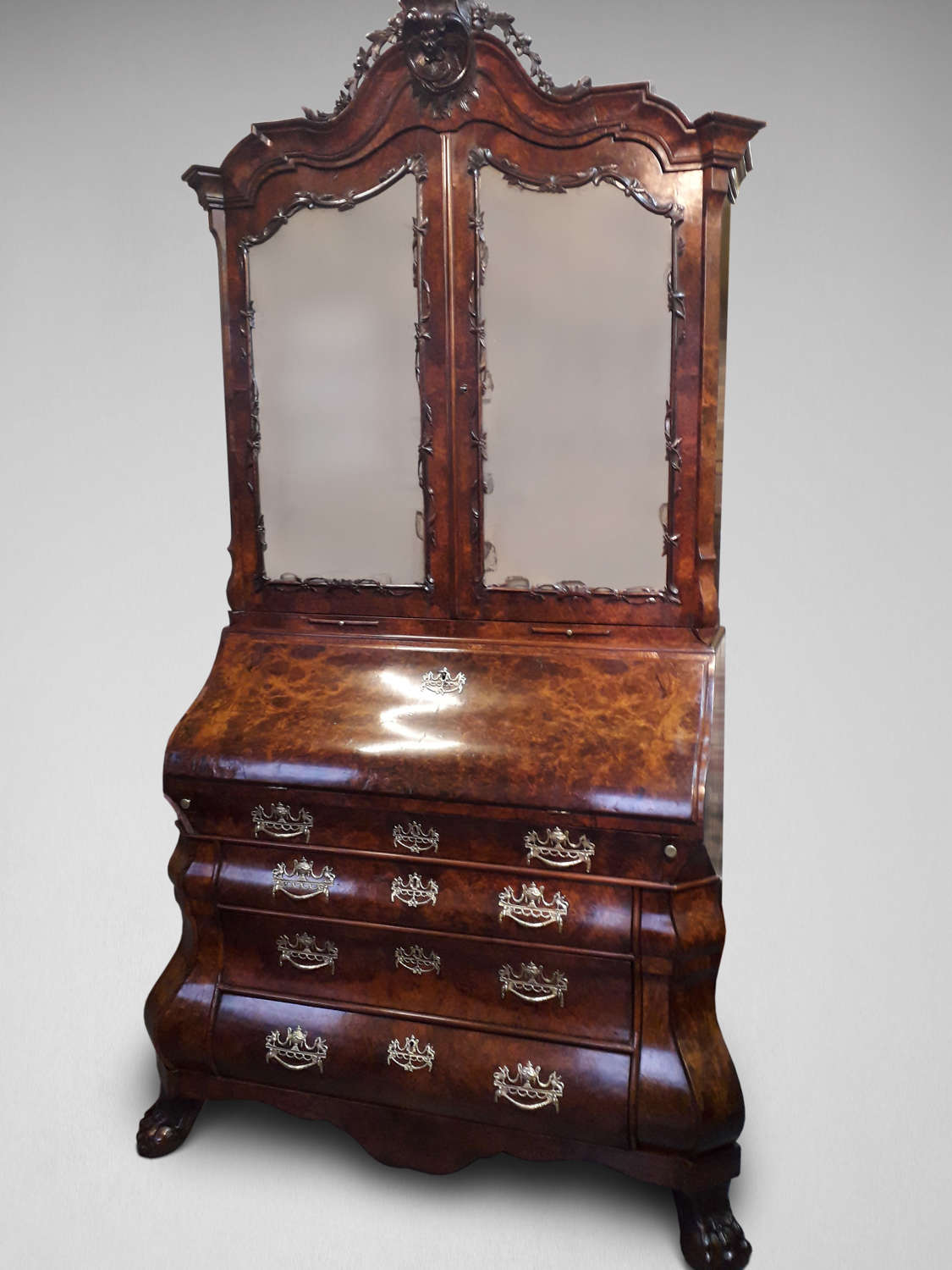 A BURR WALNUT BUREAU BOOKCASE
