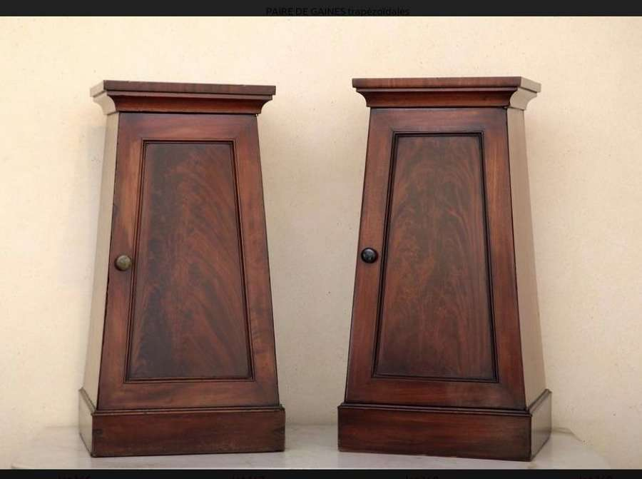 A PAIR OF NEO CLASSICAL BEDSIDE CUPBOARDS