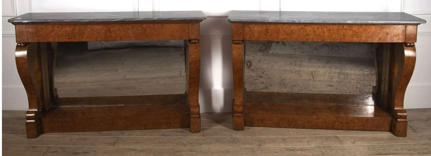 A RARE PAIR OF BURR MAPLE CONSOLES FRANCE C1825