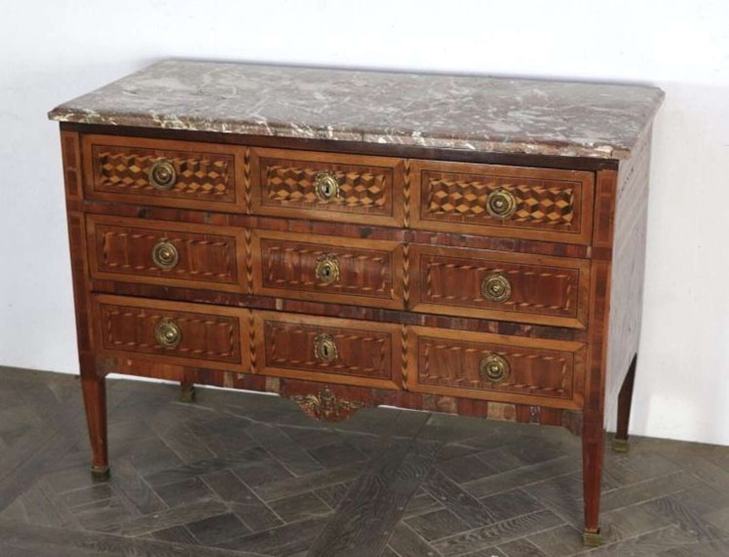 A LOUIS XVI PERIOD PARQUETRY COMMODE FRANCE