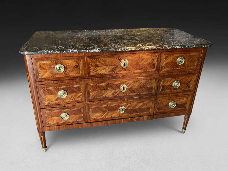 A FINE LOUIS XVI PERIOD PARQUETRY COMMODE