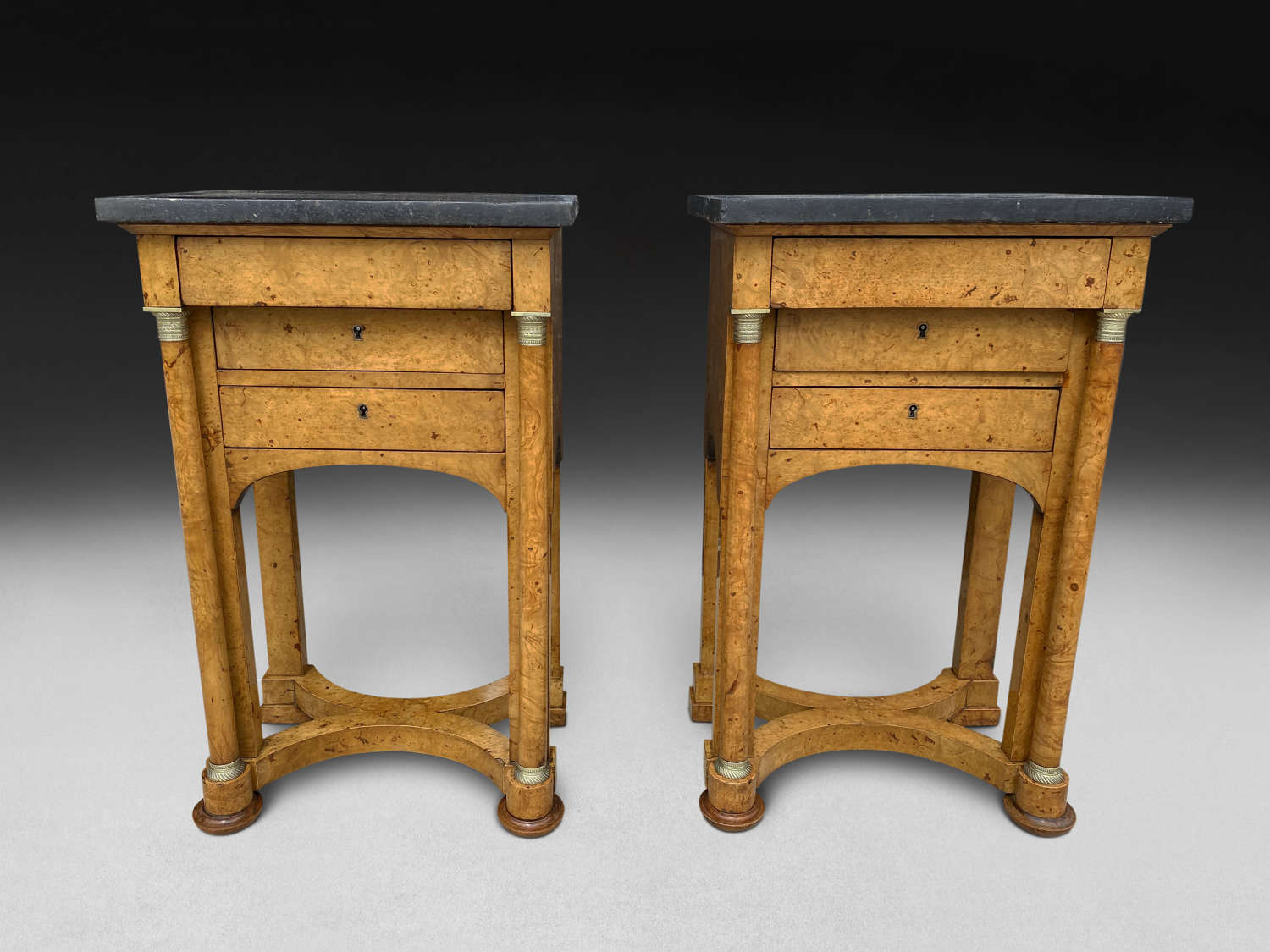 A PAIR OF BURR ELM BEDSIDE CUPBOARDS