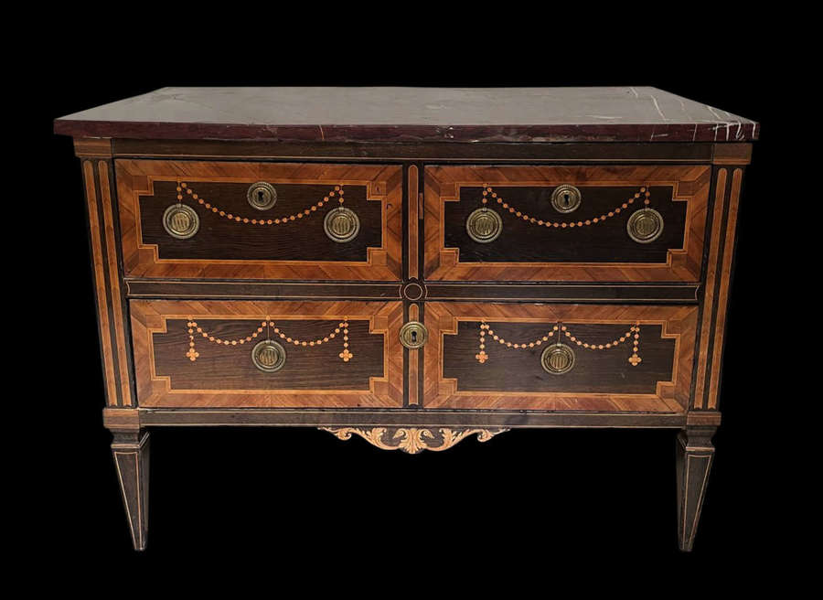 A RARE LOUIS XVI PERIOD MARQUETRY COMMODE